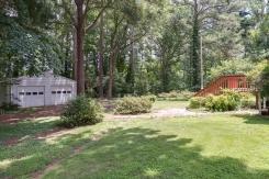 Fenced Backyard with detached garage